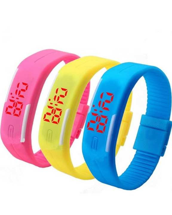 Pack of 3 - LED Watch For Kids - Pink, Yellow & Blue