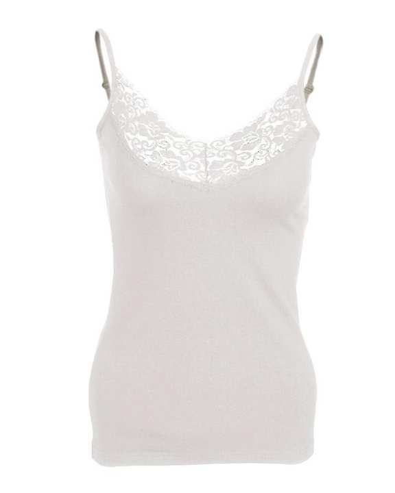 Camisole Collection Off-White Cotton V Lace up Camisole for Women