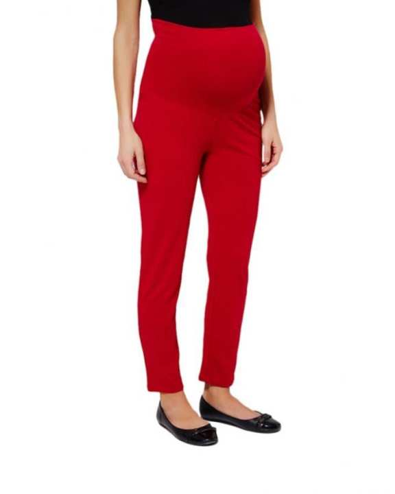 Red Cotton Belly Covering Maternity Pants For Women
