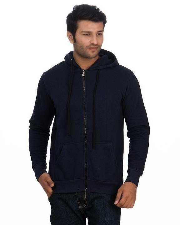 Navy Blue Jersey Plain Hoodie for Men