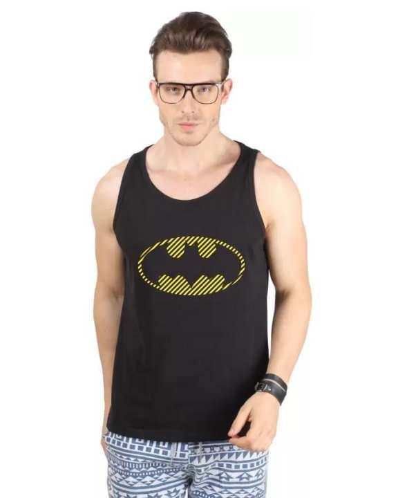 Black Cotton Printed Batman Vest For Men