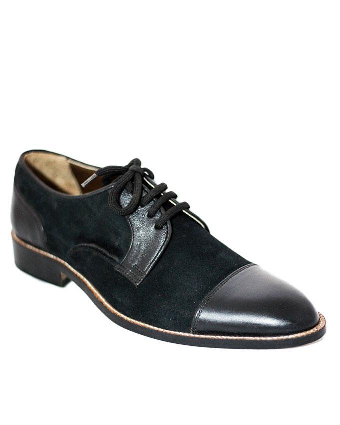 Black Leather Suede Captoe For Men