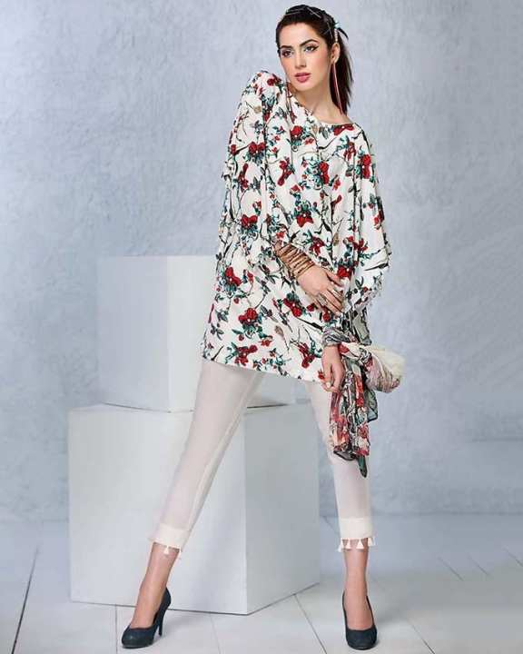 Gul Ahmed - White Soya Silk Printed shirt with blended chiffon 3PC-Unstitched -  SY-21-158517
