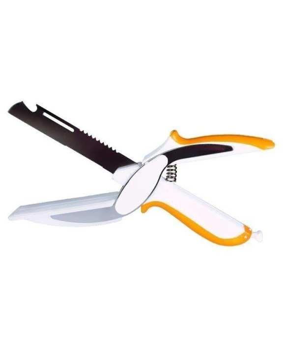 6 in 1 - Knife Scissors - White & Orange
