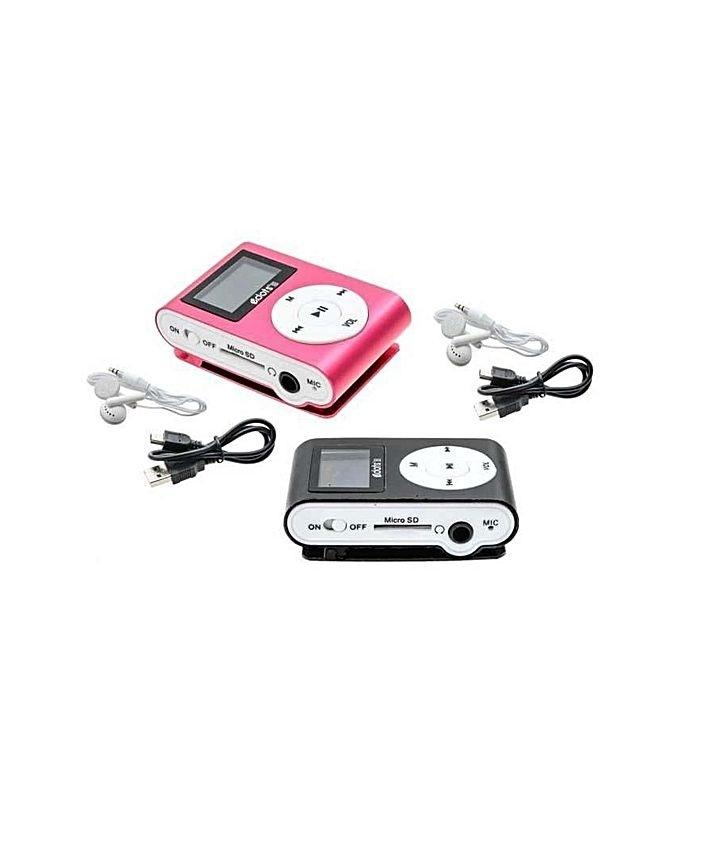 Pack of 2 - LCD Disply MP3 Player - Black & Pink