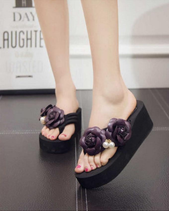 3a61d1bb16987 Women Sandals Handmade Flower Flip Flops - Purple