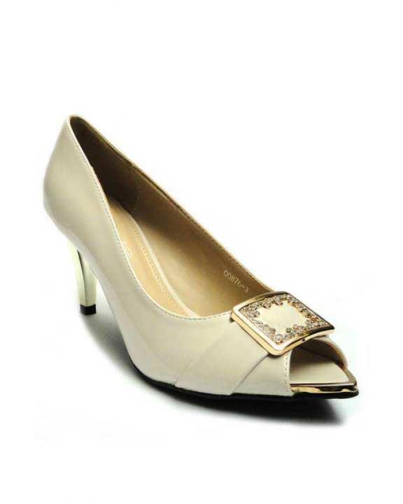 Off White Queen Women Stylish Peep Toe Heels - European Size