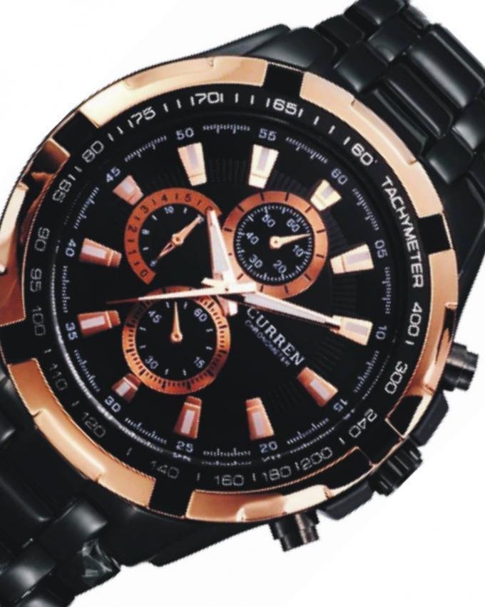 Black Alloy Wrist Watch for Men - 8023