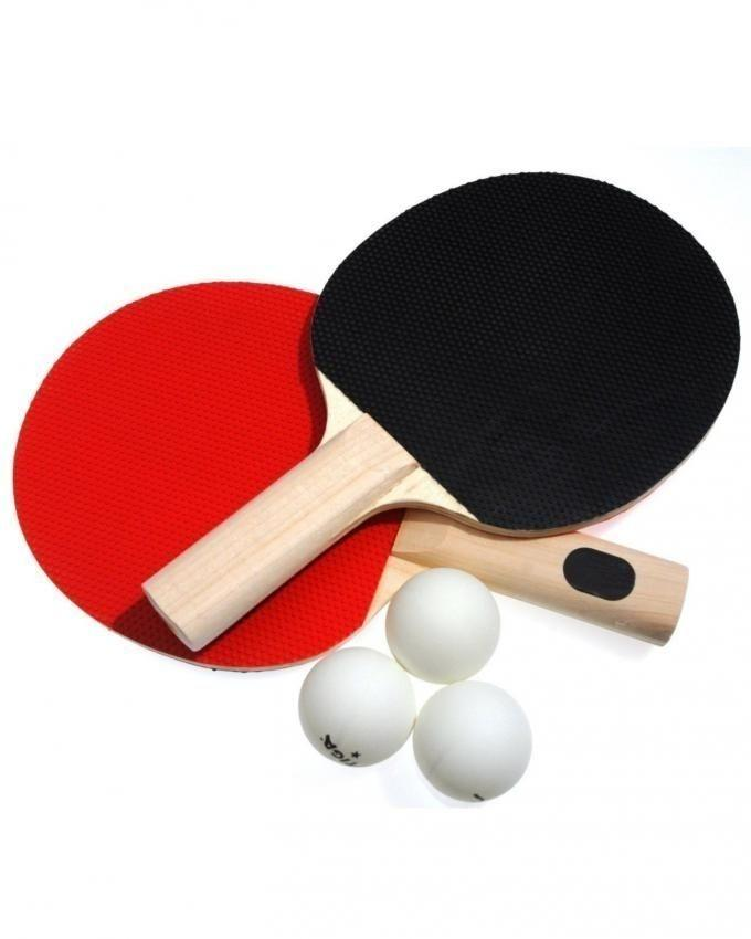 Table Tennis Rackets Pair with 3 Balls - Red & Black