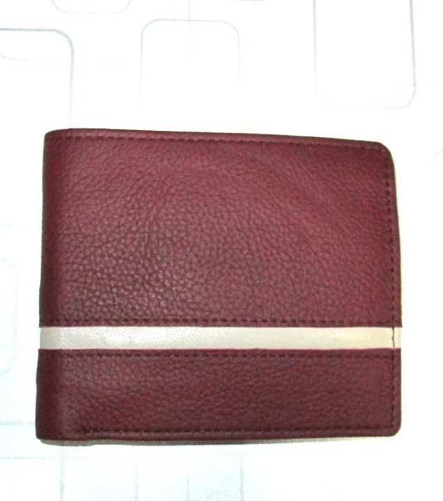 100% Genuine Real Pure Maroon Leather Bifold Wallet Men