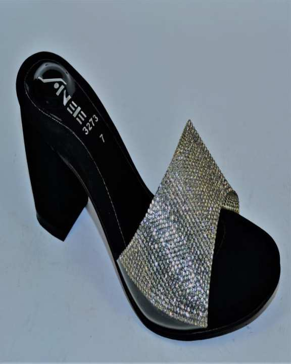 Black Sheesha & Block Heel Heels For Women