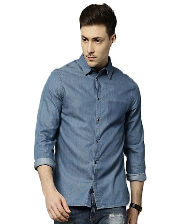 Blue Denim Casual Men Shirt