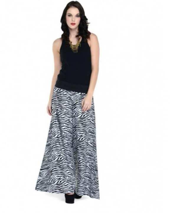 Black & White Fleece Zebra Print Plazzos For Women