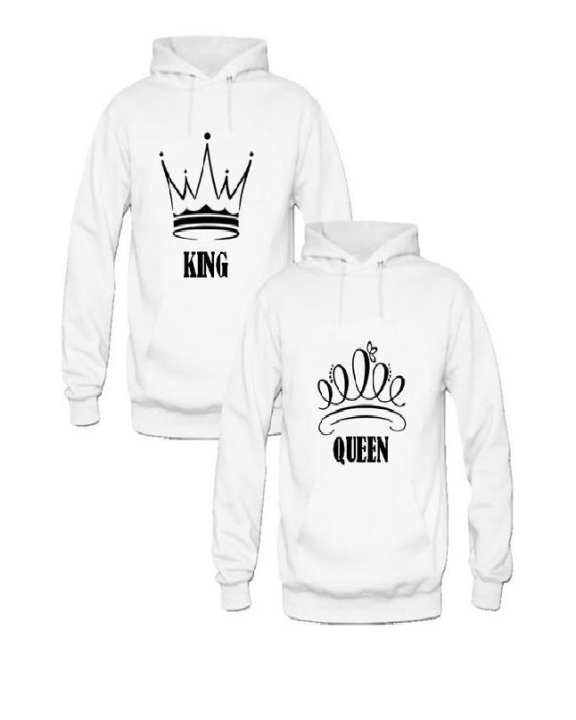 White Cotton King & Queen Hoodies For Couples