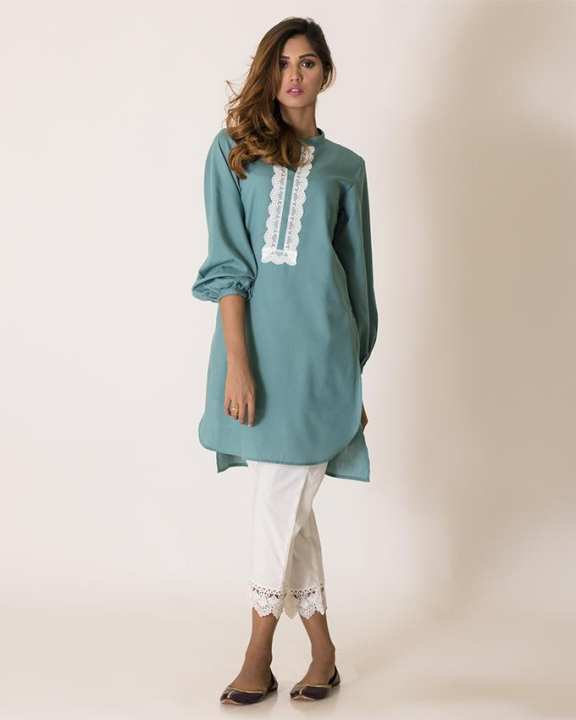 Ego Fall/Winter Collection 2018 Sea Green Cotton Laced Kurti for Women