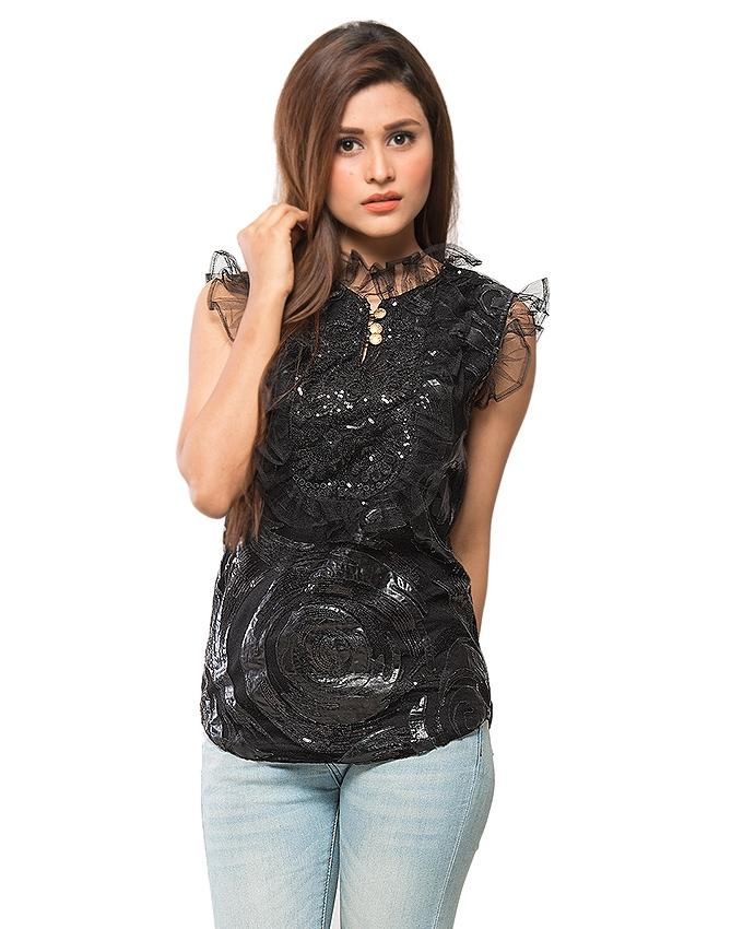 Black Cotton Net Top for Women
