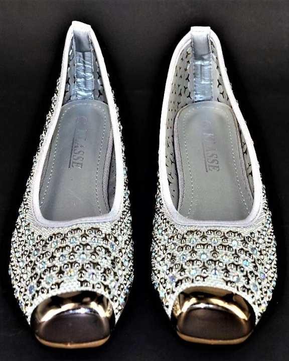 Silver Stone Work & Original Rubber Sole Heels For Women