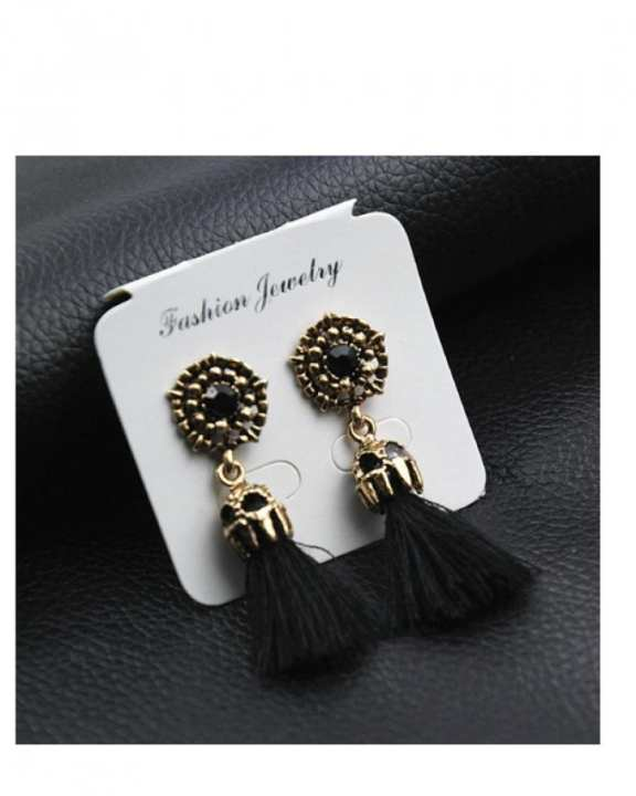 Pair of Tassle Earrings- Black