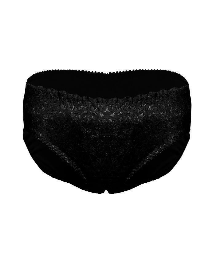 Skin & Black Net And Nylon Panties