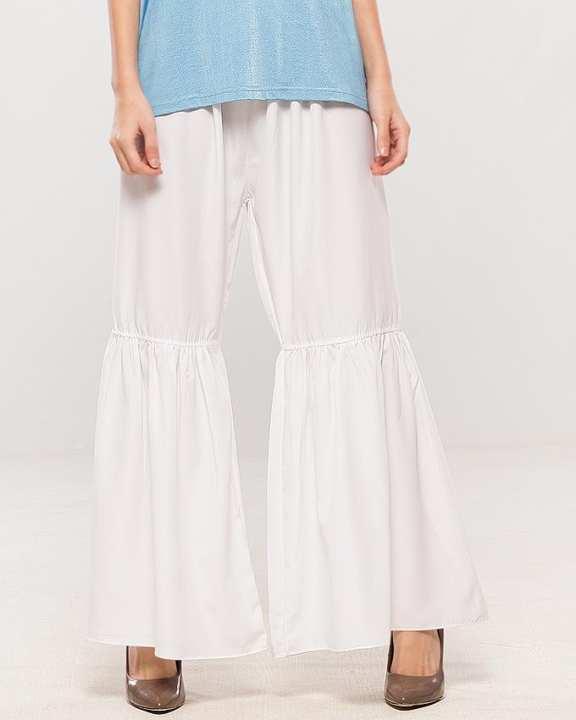White Malai Boski Gharara Pants For Women