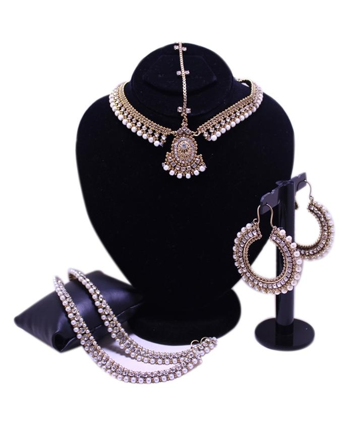 Antique Kundun Style Jewelry Set for Women - Anklet, Matha Patti & Ear Rings - Golden