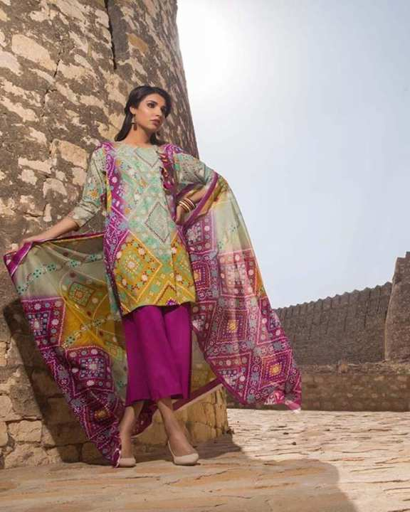 Multi Normal Printed 3 Pcs Lawn-Unstitched
