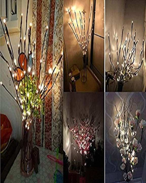Bellier Lighted Tree Branches- Branch Lights LED Lighted Branches 20 LED Lights 20 Inch Willow Twig Lighted Branch for Home Decoration Warm White Battery Powered Decorative Lights
