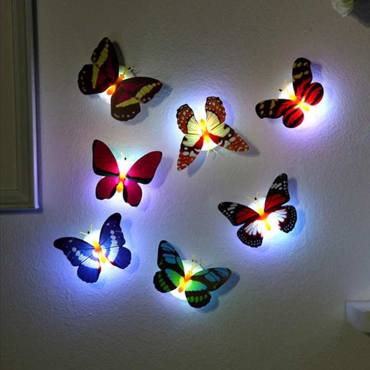 PACK OF 6 LED Light Night Atmosphere Lamp with Colorful Changing Butterfly Indoor Light with Suction Pad Home Party Desk Wall Decor