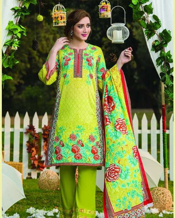 Parrot Green Printed 3Pcs- Unstitched  Lawn For Women