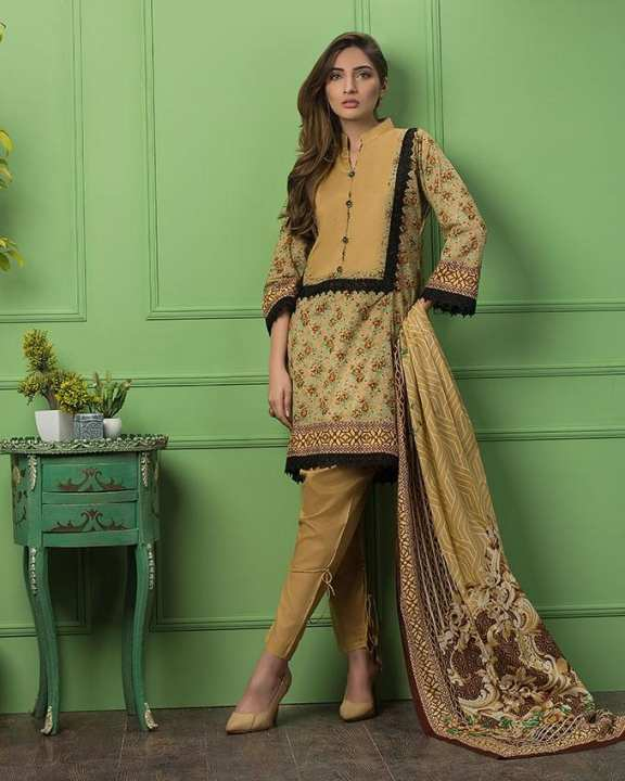 Golden  Printed 3Pcs- Unstitched  Lawn For Women