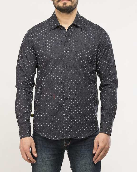 L/S Black Printed Cotton Shirt for Men Special Online Price