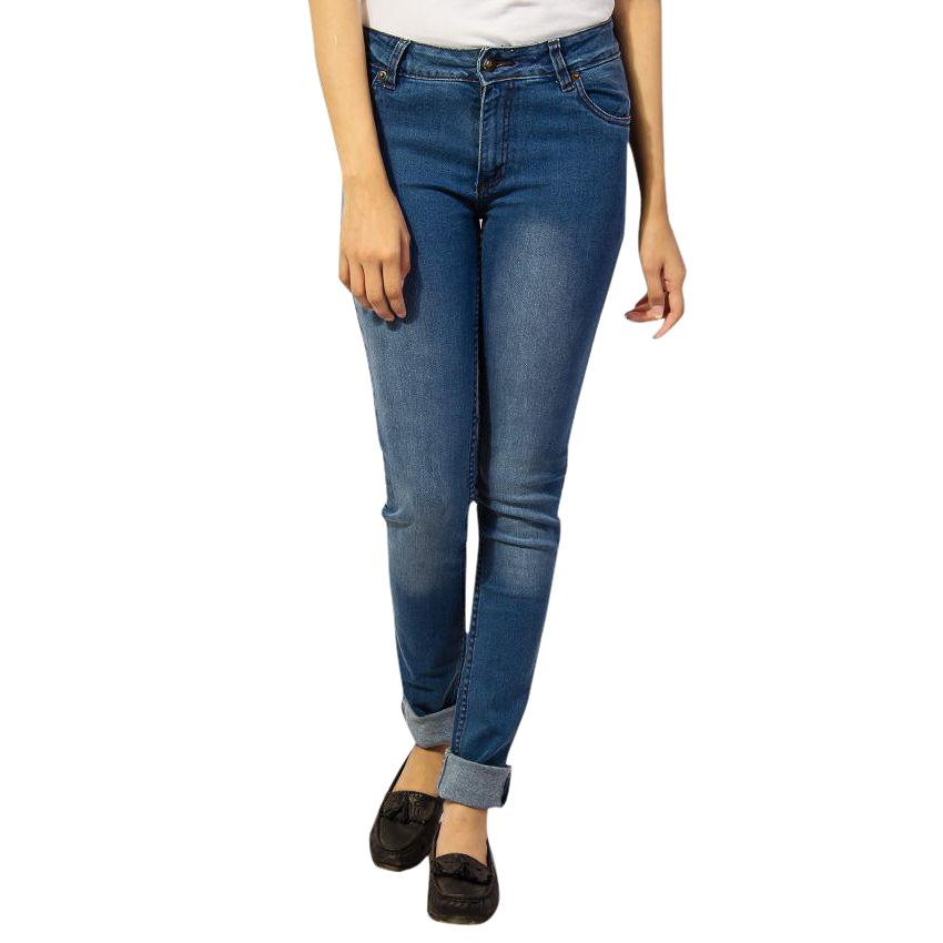 Ladies Navy Blue Faded Jeans - 37 04aeb00ff
