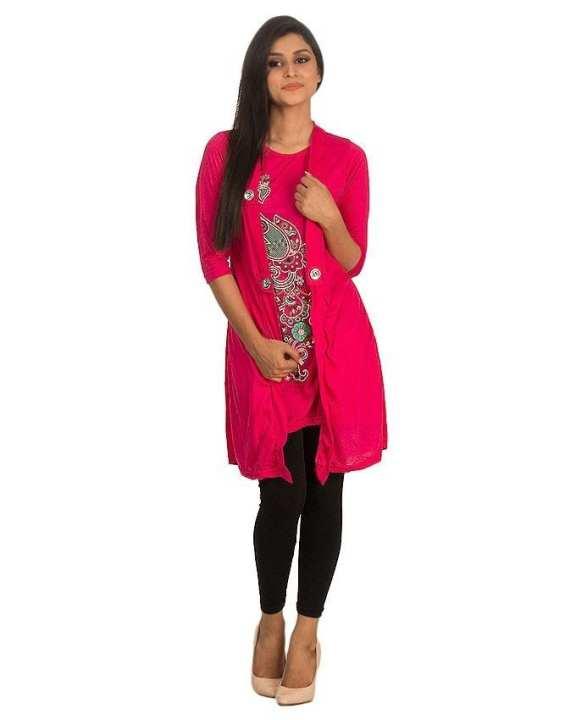 Pink Polyester & Viscose Stylish Printed Shrug for Women - ARA-TunicShrug-P