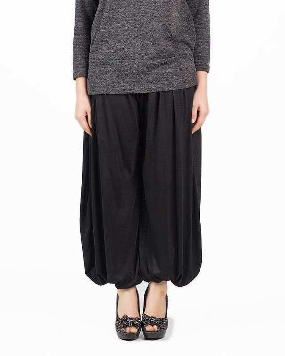 Black Viscose Harem Pants for Women