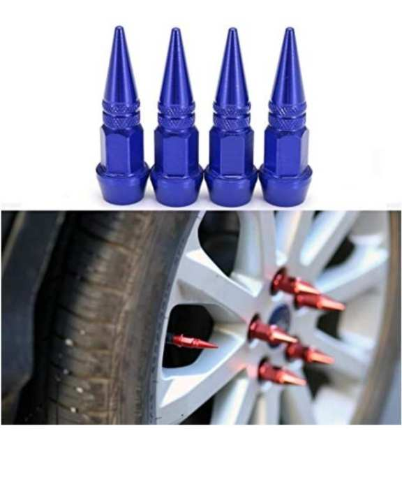 4X Impale Spike Style Polished Aluminum Bullet Car Bike Tire Valve Stem Caps