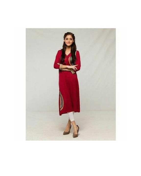 Maroon Viscose Kurti For Women