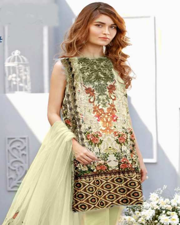 HyperShop - Cream Green Baroque Unstitched Suit For Women - 3 Pcs