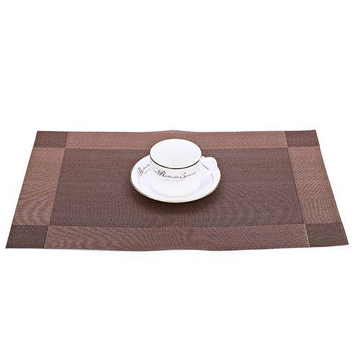 4pcs Heat Insulation Stain-resistant Woven Kitchen Mat - Coffee