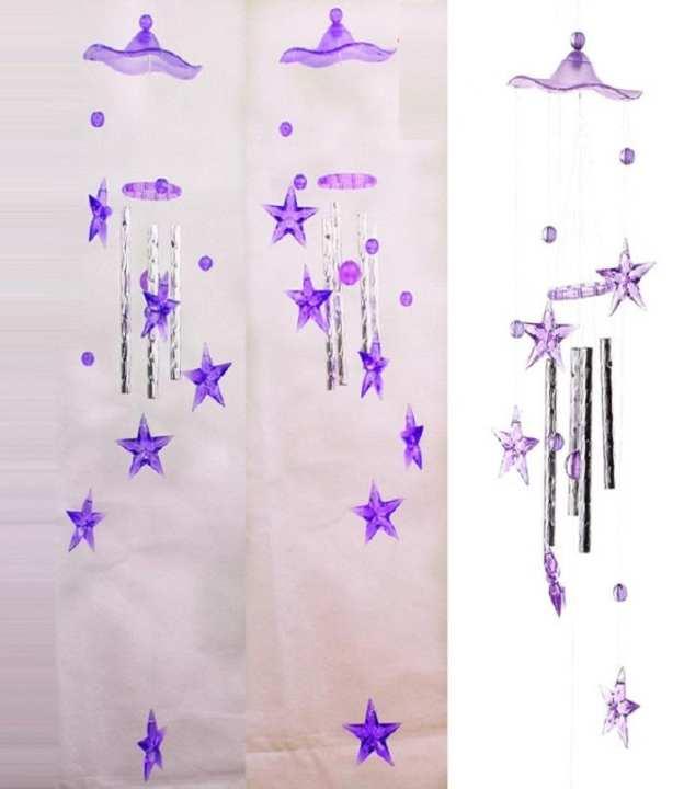 Stars Plastic Crystal 4 Metal Tubes Windchime Wind Chime