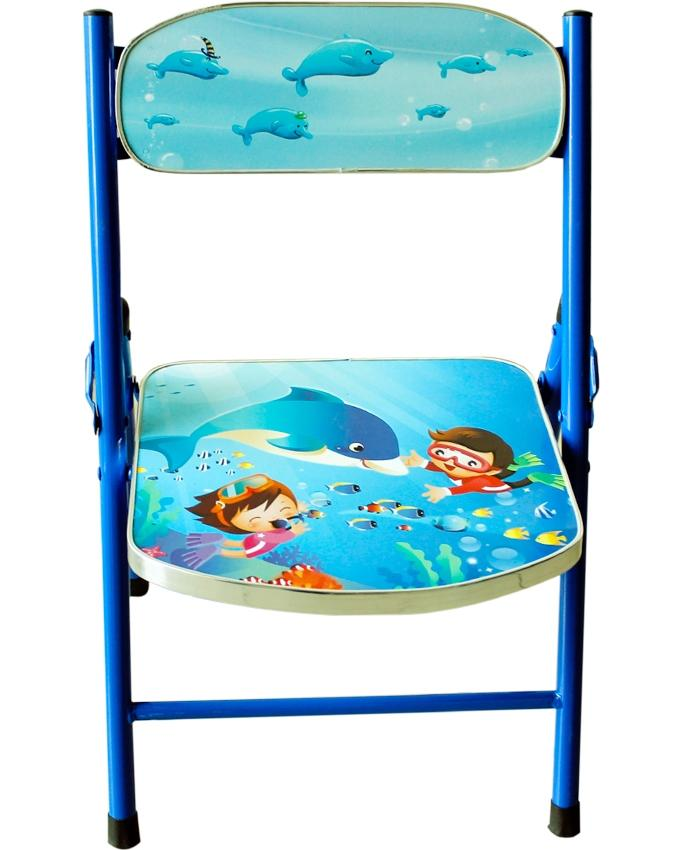 Kids Cartoon Study Table with Chair - Blue