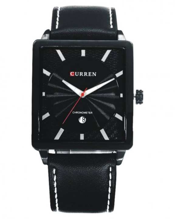 Black Leather Fashionable Wristwatch for Men - 8117