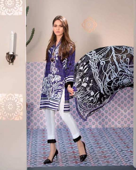 Gul Ahmed - Purple Chiffon with Printed Shirt & Embroidered Neckline 3PC-Unstitched -  C-492-158432