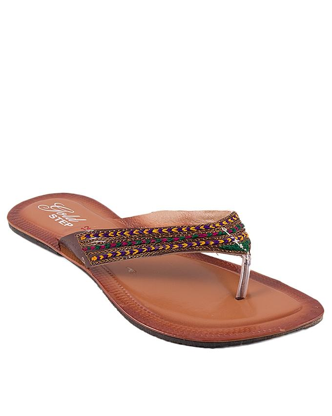 Brown Leather V-Strap for Women - US2