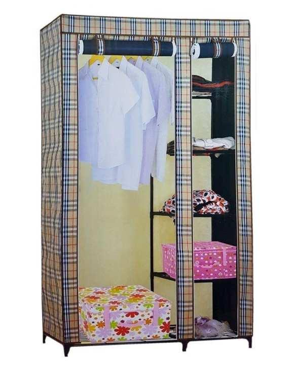 Folding Canvas Wardrobe - 6X3.5 Ft - Beige