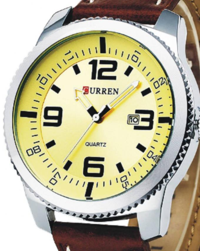 8180 - Yellow Leather Analog Watch for Men