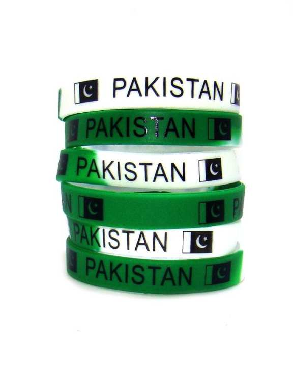 Pack of 6 - Pakistan Flag Hand Band For Boys - Green