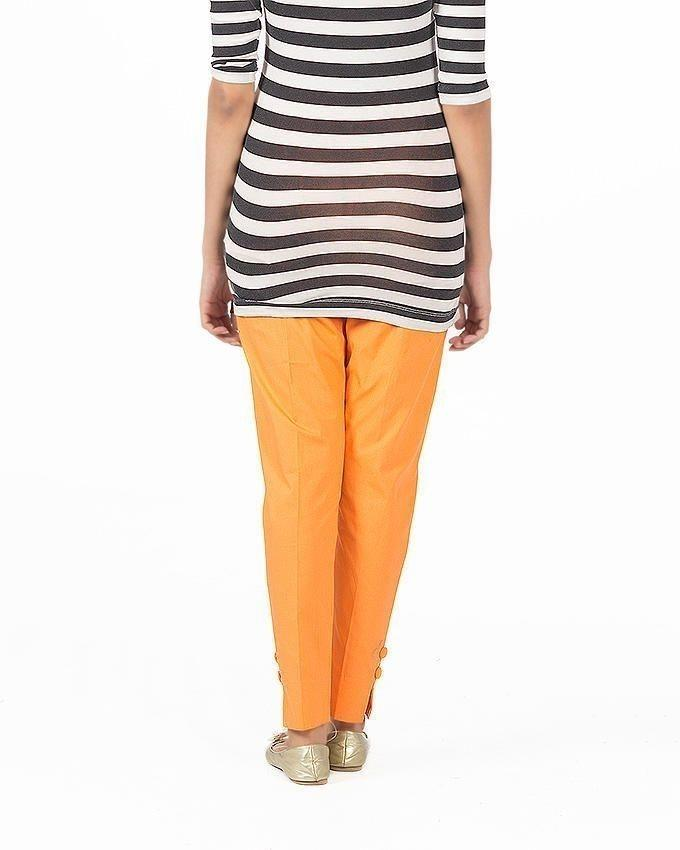 Orange Cotton Cigarette Pant For Women