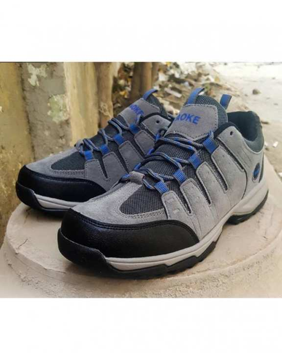 Grey Synthetic Canvas Athletic Shoes