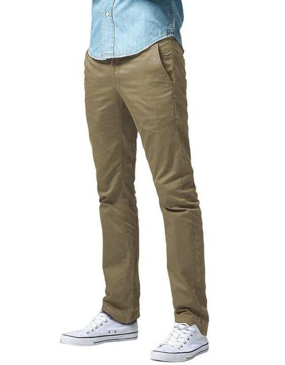 Beige Cotton Khaki Pants for Men