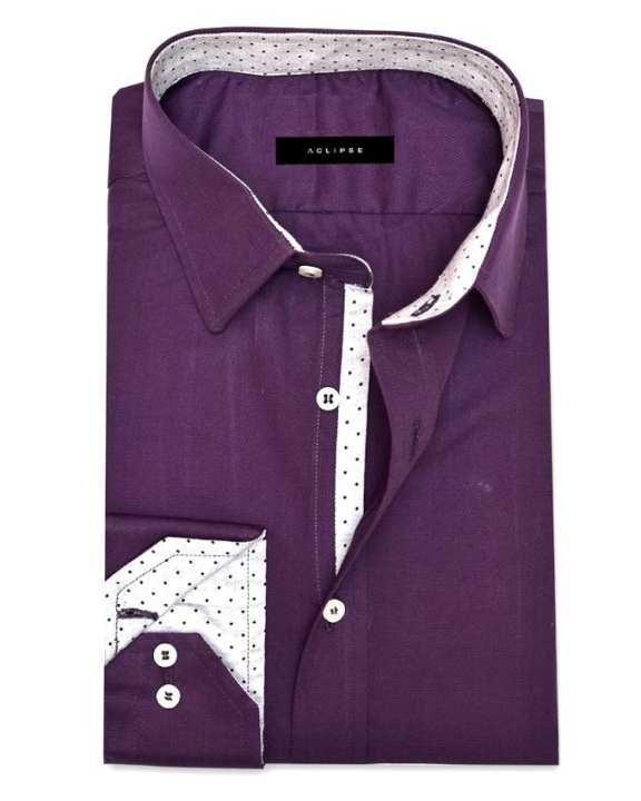 ACLIPSE - Dark Purple Shirt with Grey Polka Trims